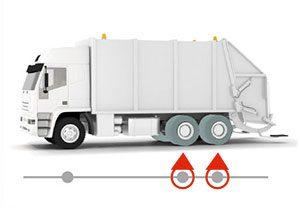 Camion poubelle avec pneu rechapé sur essieu moteur