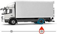 Pneus rechapés montés sur essieu porteur camion